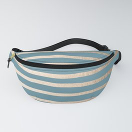 Abstract Drawn Stripes Gold Tropical Ocean Blue Fanny Pack