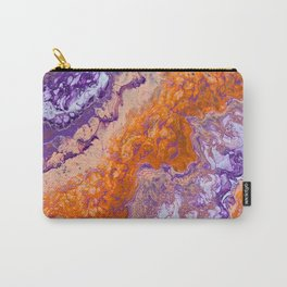Clemson Orange and Purple Paint Pour Effect Carry-All Pouch