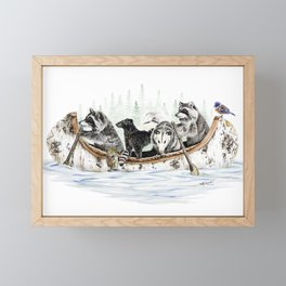 """ Critter Canoe "" wildlife rowing up river Framed Mini Art Print"