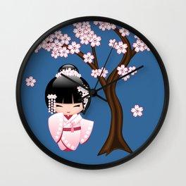 Japanese Bride Kokeshi Doll Wall Clock