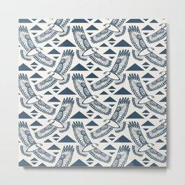 The Hawk's Flight_ Beige and Blue Metal Print