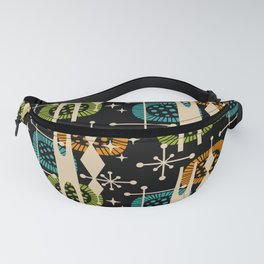 Retro Atomic Mid Century Pattern Black Orange Green and Turquoise Fanny Pack