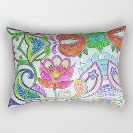 Pink orange lime green artistic watercolor hand drawn flowers Rectangular Pillow