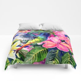 Hummingbird and Plumeria Florwers Tropical bright colored foliage floral Hawaiian Flowers Comforters