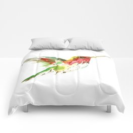 Hummingbird flying bird decor Comforters