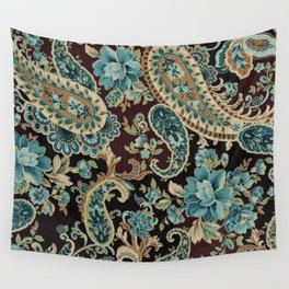 Brown Turquoise Paisley Wall Tapestry