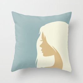 blonde girl in profile Throw Pillow