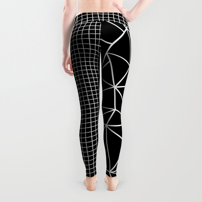 Abstract Grid Outline White on Black on Side Leggings