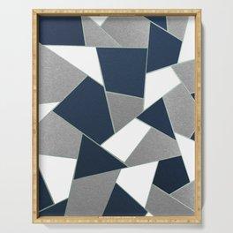 Navy Blue Gray White Mint Geometric Glam #1 #geo #decor #art #society6 Serving Tray