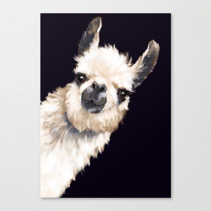 Sneaky Llama in Black Leinwanddruck