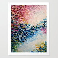 PARADISE DREAMING Colorful Pastel Abstract Art Painting Textural Pink Blue Tropical Brushstrokes Art Print