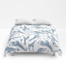 Navy Blue Giraffes on White Comforters