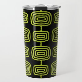 Mid Century Modern Atomic Rings Pattern Black and Chartreuse Travel Mug