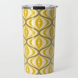 Retro Mid-Century Saucer Pattern in Yellow, Gray, Cream Travel Mug