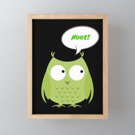 Owl Cartoon - Hoot Framed Mini Art Print