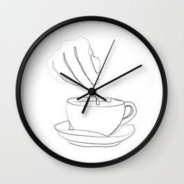 """ Kitchen Collection "" - Hand mixing coffee with a spoon Wall Clock"