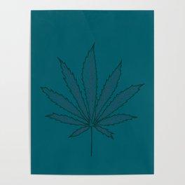 Cannabis teal leaf Poster
