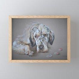 English Setter Freckles Dog Portrait Pastel drawing Framed Mini Art Print