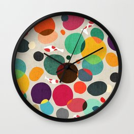 Lotus in koi pond Wall Clock