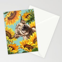 Highland Cow with Sunflowers in Blue Stationery Cards