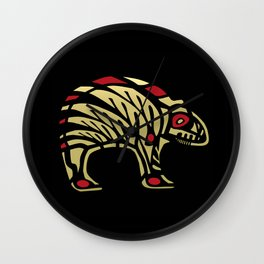 Tribal Black and Gold Bear Symbol Wall Clock