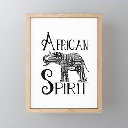 Africa Style Elephant Black And White Tribal Pattern Framed Mini Art Print