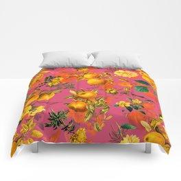 Vintage & Shabby Chic - Summer Golden Apples Pink Flowers Garden Comforters