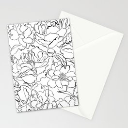 Peony Garden Hand Drawn Flowers Stationery Cards