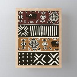 African mud cloth with elephants Framed Mini Art Print