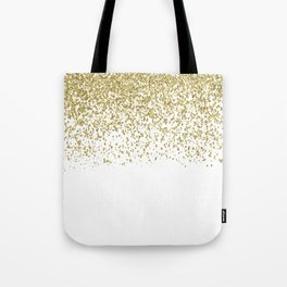 Sparkling gold glitter confetti on simple white background - Pattern Tote Bag