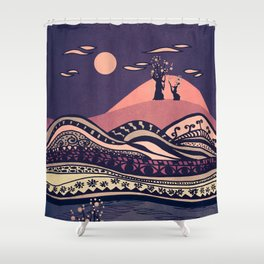 Psychedelic mountains (colour option) Shower Curtain