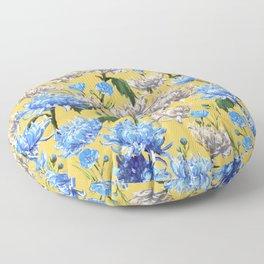 Mums Pattern     Yellow-Blue-Cream-White Floor Pillow