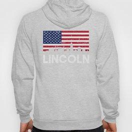 Lincoln NE American Flag Skyline Distressed Hoody