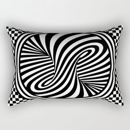 Black & White Twist & Check Design Rectangular Pillow