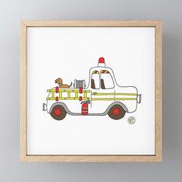 vintage firetruck Framed Mini Art Print