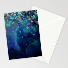 Ocean Blue & Golden Bokeh Confetti Stationery Cards