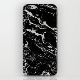 Modern silver black marble pattern iPhone Skin