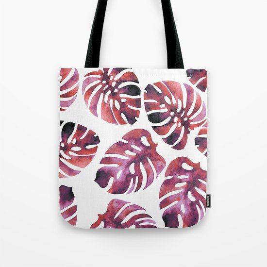 Monstera Red Tote Bag