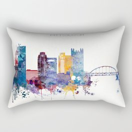 Watercolor cityscape of Pittsburgh Rectangular Pillow