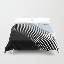 Rising Sun Minimal Japanese Abstract White Black Blue Duvet Cover
