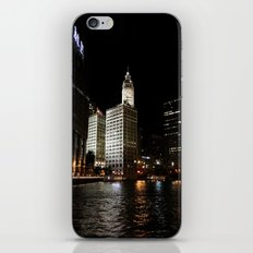 Wrigley Building and Chicago River at Night Color Photo iPhone & iPod Skin