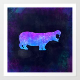 HIPPO IN SPACE // Animal Graphic Art // Watercolor Canvas Painting // Modern Minimal Cute Art Print