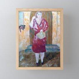 Woman in red Framed Mini Art Print