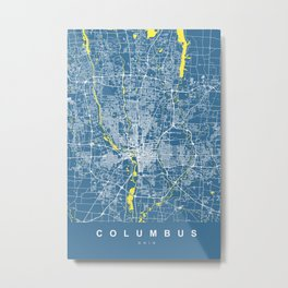 COLUMBUS Map Ohio | Blue & Yellow | More Colors, Review My Collections Metal Print