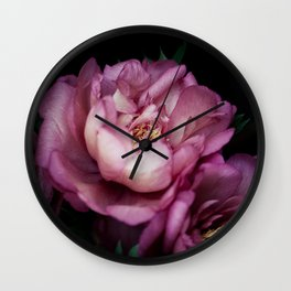 Hourly I sigh: dark pink peonies Wall Clock