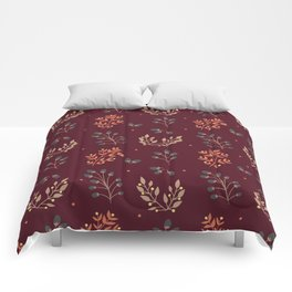 RED MERLOT FLORAL FALL Comforters