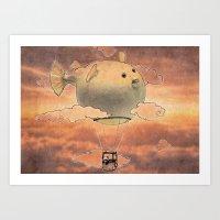 gorillaz Art Prints featuring Panda fliying in a Blow fish 2 by Barruf