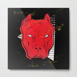 Red Pit Bull Metal Print