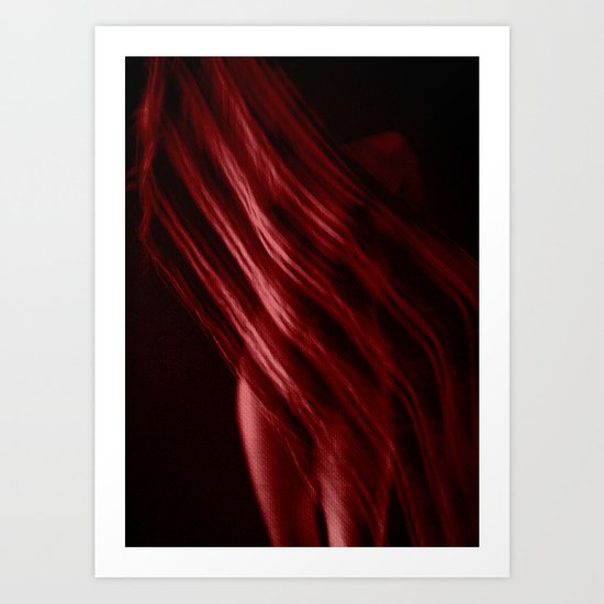 Scarf with Stripes in Red Art Print