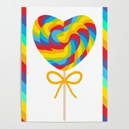 Valentine's Day Heart shaped candy lollipops with bow, colorful spiral candy cane with rainbow Poster